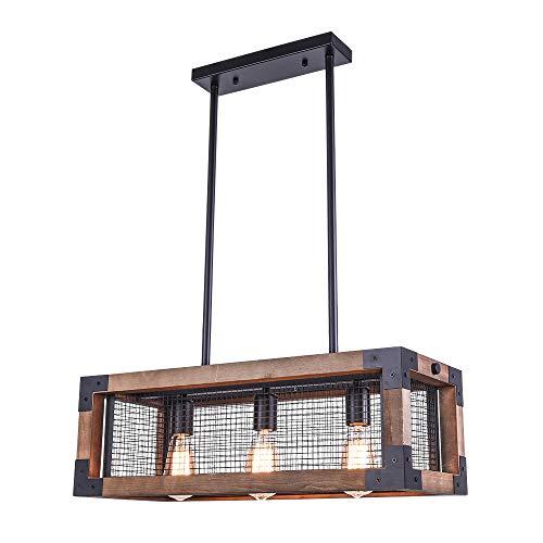 OYI Bois Lustres Table de salle à manger Suspensions Ombre Rectangulaire Plafonniers 3 E27 Pour la salle à manger (Sans ampoules)