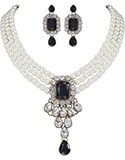 Sakhhi Jewels Gold Plated kundan Look Stone Studded Jewellery Necklace Set for Girls and Women