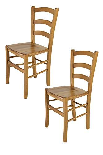 Tommychairs - set 2 sedie modello venice per cucina e sala da pranzo, con robusta struttura in legno di faggio verniciata color rovere e con seduta in legno massello
