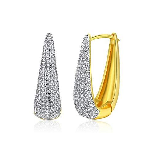 DIAOSI Gold U-förmige Damen Ohrringe, Kupfer und Zirkon Bankett Ohrringe Elegante und zarte Damen Ohrringe können an die Freundin als Geschenk 22 *   14 mm gesendet Werden