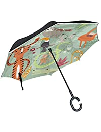 ALINLO Paraguas invertido diseño de tucán Divertido, Doble Capa de Paraguas invertido, Resistente al