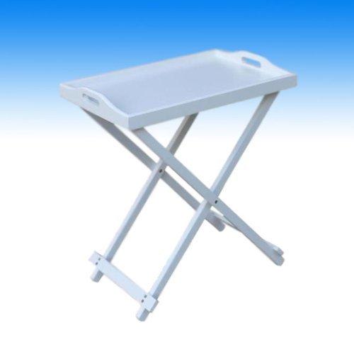 Home and Styling Collection Falten Serviertisch Tablett Tisch Holz weiß 60x36x55cm (Weiß Holz Quadratischen Tisch)