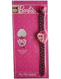 Barbie–Reloj LCD Digital mi Fab correa de reloj–rosa y negro