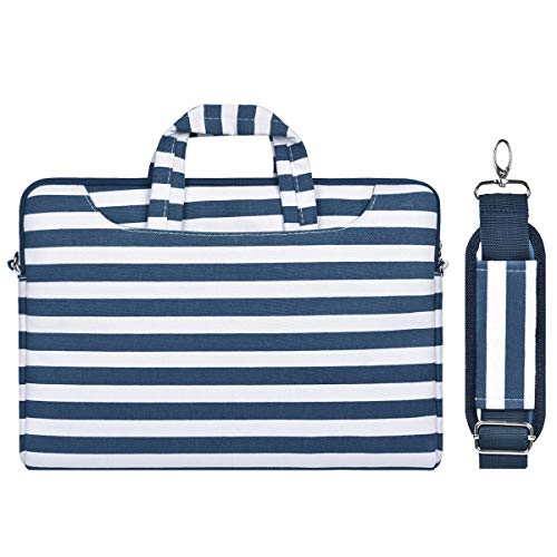 MOSISO Laptoptasche Schultertasche Kompatibel 13-13,3 Zoll MacBook Air, MacBook Pro Retina, Surface Laptop 2 2018, Surface Book, Canvas Muster Aktentasche mit Zurück Trolly Gürtel, Navy Blau Streifen