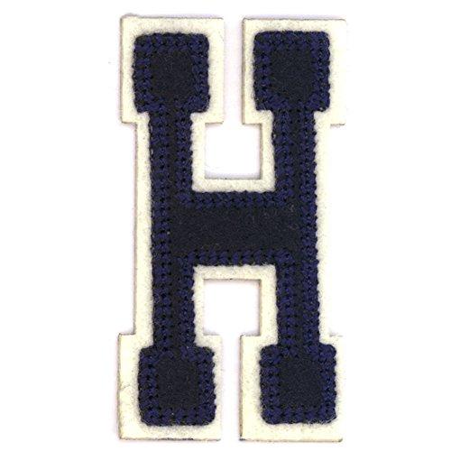Alphabetbuchstaben nach Uniauswahl Art: blaue Aufbügelapplikation Buchstabe H (Stoff Buchstaben-patches Eisen-auf)