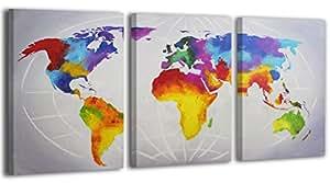 Donzo carte du monde 100 main peinte image peinture - Cheque cadeau maison du monde ...