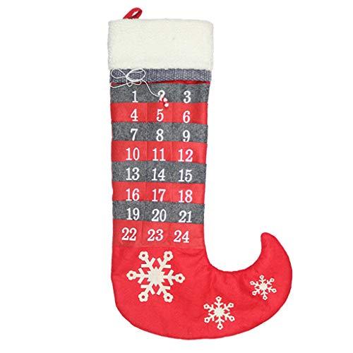 Sitonelectic, calendario dell'avvento da appendere a forma di calza della befana, in feltro, grazioso calendario per conto alla rovescia per decorazione da parete