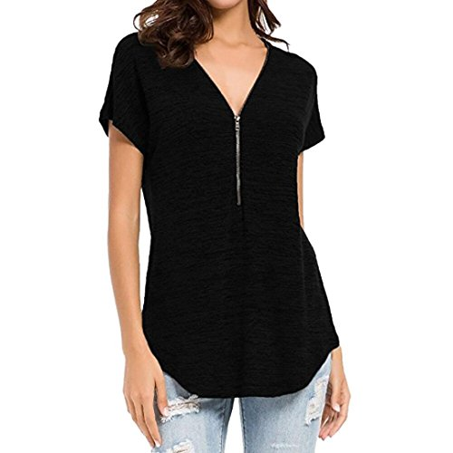 (ESAILQ Damen in Trend-Farben aus 100% Baumwolle, Auch in Übergrößen, längeres Shirt für drüber und Drunter (S,Schwarz))