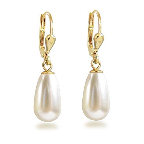 blé Ohrhänger mit Perlen von Swarovski® Ohrringe vergoldet Tropfen cremeweiß ()