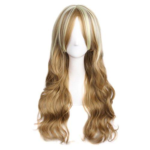 HSDMWJD Perücken Fashion Lady Frauen lange gewellte lockiges Haar Perücken Drawstring volle Perücke synthetische Kostüm