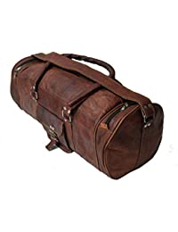 Leather Bag Vintage Genuine 22'' Round Duffle Cum Gym Bag By Znt Bag Kfd - 5072