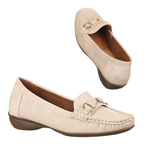 Damen Schuhe, 6806, LEDEROPTIK HALBSCHUHE MOKASSINS Beige