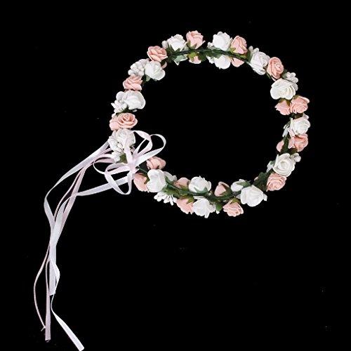 Guirlande Couronne Auréole Florale de Roses pour Festival Mariage Outil de Photographie Taille Adulte - Rose + Blanc