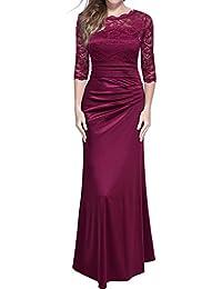 Miusol Damen Elegant Abendkleid Rundhals Schwarze Spitzen Brautjungfer Cocktailkleid Vintage Cocktailkleid Langes Kleid