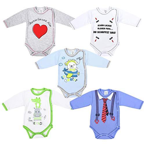 TupTam Baby Jungen Langarm Wickelbody mit Aufdruck 5er Set, Farbe: Junge 1, Größe: 68