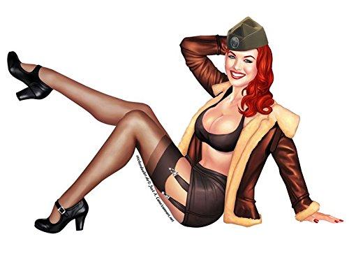 Unbekannt Pinup Aufkleber Army Girl Sticker Nose Art Sexy Girls ca. 15x10 cm Vintage Retro Army Flugzeug Pinups Autoaufkleber