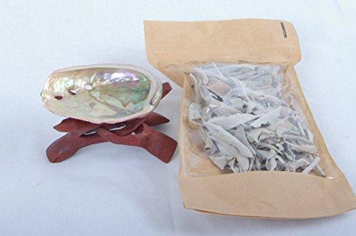 Mini SET: niedliche Abalone Shell 5-8cm (2-3-Inch), natürlich, schillernd und spirituell & kleiner passender Tripod Cobra aus einem Holz geschnitzt + ein kleiner Vorrat original californischen weißen Salbei (10gr) - Holz Geschnitzt Shell