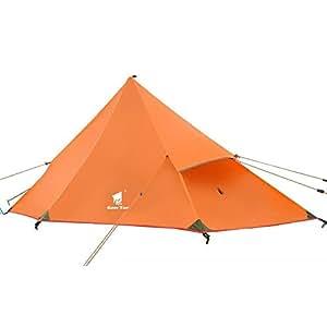 GEERTOP Tente de camping sac à dos 20D ultra légère Imperméable - 210 x 90 x 105 cm (410g) - 1 personne 3 saisons pour camping randonnée escalade (Pôle Non inclus) (Orange, Tente intérieure)