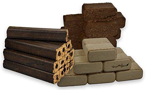 Preisvergleich Produktbild mumba - Probierset insgesamt 30kg Holzbriketts (10kg Eichenbriketts eckig, 10 kg Rindenbriketts eckig und 10kg Buchenbriketts eckig)