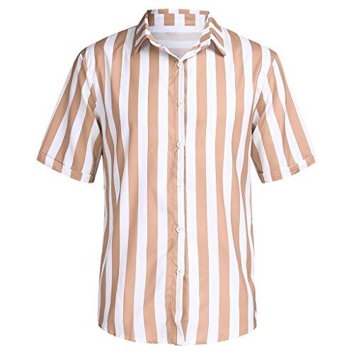 ODRD Hot Jugend Herren T Shirt Frühling Sommer Herren Baggy Beach Hawaiian Print Kurzarm Knopf Retro T Shirts Tops Bluse Lässiges Weste Vest T Shirts Top Tanktop Bluse Tee t Shirts (Jugend Hawaiian Shirt)
