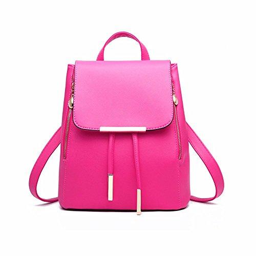Saint Kaiko PU Leder Wanderrucksäcke Schulrucksäcke Rucksäcke Schulranzen Jungen Schulrucksäcke Jungen Schultasche Mit Strangverschluss Zum Reisen oder zur Schule Gehen (blau) dunkel rosa
