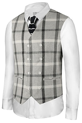 Hanayome Herren Blouson Weste 100 DEN Gr. Large, Grey-C (Wool Suit Grey Check)