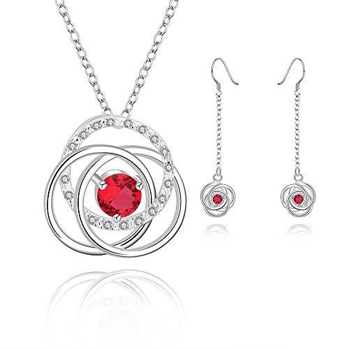 Epinki set gioielli, placcato argento orecchini collana pendente cava fiores rosso cz swarovski elementi