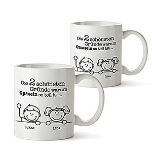 2er Tassen Set - Tasse Gute Gründe Oma und Gute Gründe Opa – Personalisiert mit [Namen der Enkel] – Geschenkideen Geburtstag Weihnachten für Opa und Oma - Oma und Opa Geschenke – Geschenk Idee