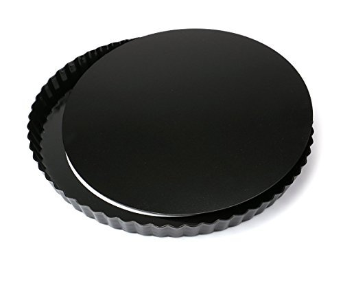 Tebery 2 Stück 28cm / 11zoll Quicheform mit entfernbarem, Delicious gute Antihaftbeschichtung Tortenform Boden, Kuchenform Rund Quiche Tarte Form zum Backen