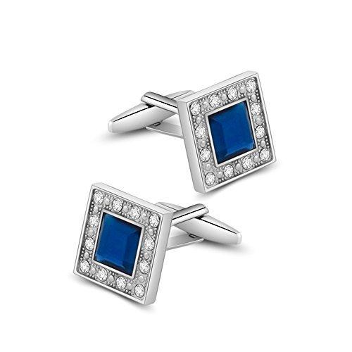 Merit Ocean klassischen Swarovski Kristall Quadrat Manschettenknöpfe für Herren blau Glas mit Geschenk-Box eleganten Stil
