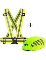 Funda para casco de bicicleta de alta visibilidad y chaleco / banda / peto de ciclismo de alta visibilidad de BTR