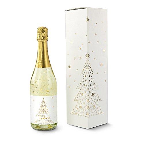 1 Flasche Riesling Sekt, 0,75 l, veredelt mit lebensmittelechtem Blattgold, in weihnachtlichem Karton verpackt