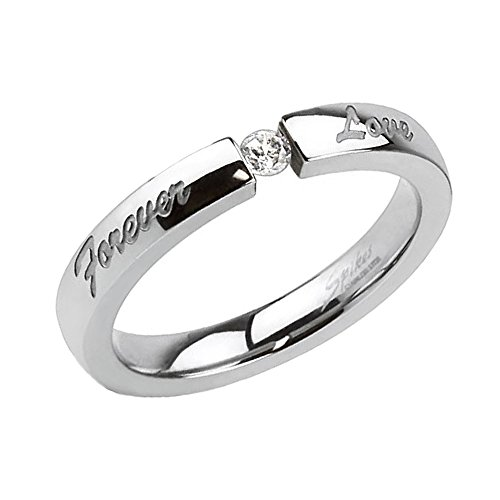 Piersando Damen Ring Verlobungsring Edelstahl Forever Love Gravur mit weißem Kristall Stein in Diamant Form Damenring Trauring Silber Größe 53 (16.9)