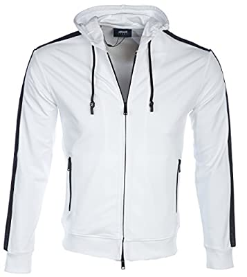 Armani Jeans Sweat Top Mesh Hoody in White
