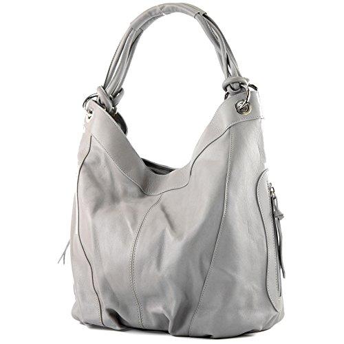 modamoda de - ital Damenhandtasche aus Leder/Nappaleder Z18, Farbe:Grau