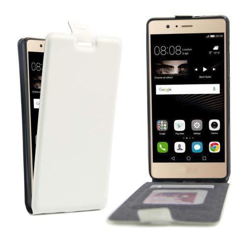 jbTec® Flip Case Handy-Hülle #X03 zu Huawei P-Serie - Handytasche Schutz Cover, Farbe:Weiß, Modell:Huawei P9 Lite/Dual SIM