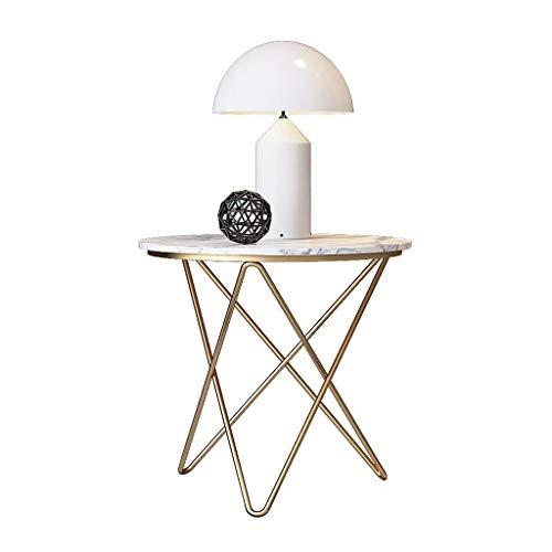Table basse ronde de marbre, table de coin blanche de sofa avec les jambes en métal, petite table minimaliste moderne d'installation facile pour le salon, balcon (taille : 50cm)