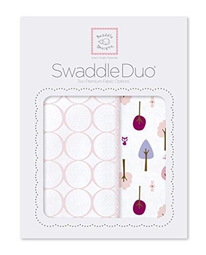 SwaddleDesigns SwaddleDuo, 2er Set, Baumwollmusselin und Baumwollflanell, Niedlich und Ruhig, Pastellrosa, 2er Set