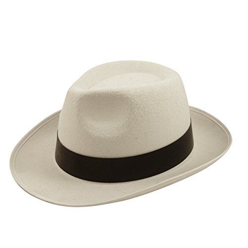 Al Capone Hut Filzhut Gangster Mob MICHAEL JACKSON Kostüm Weiß (Michael Jackson Womens Kostüm)