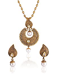 Shining Diva Antique Gold Plated Copper Look Kundan Pearl Pendant Earrings Set