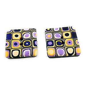 4 Knöpfe quadratisch, flach mit feinem Muster gelb, lila, schwarz, 20 mm