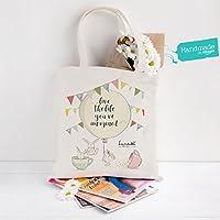 """Tote Bag Grande (39x42x13 cm, 100% cotone, 270 g/m2) con design esclusivo Lunadei e con frase """"Vivi la vita che hai sempre immaginato"""", perfetto per la spiaggia, lo shopping o come regalo!"""