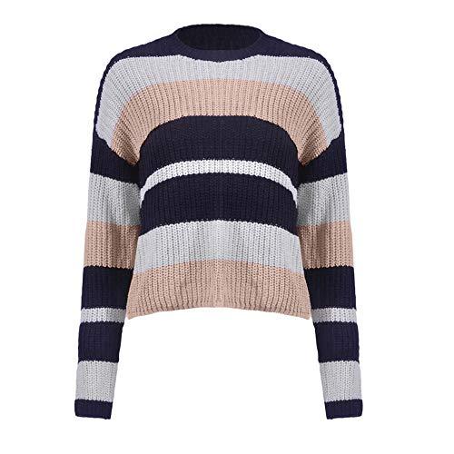 MIRRAY Damen O-Ausschnitt Langarm Gestrickte Patchwork Herbst Winter 2018 Tops Lose Pullover Bluse Sweatshirt