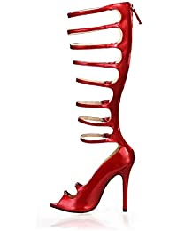 Best 4U® Sandalias de verano para mujer Premium PU Cómodo Stiletto Stiletto Peep toe Correas 12CM Tacones altos...