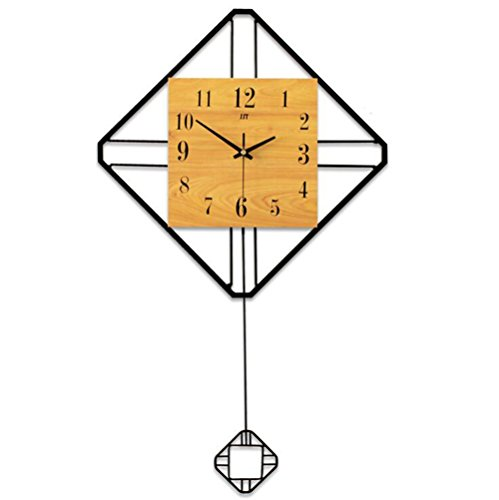 Balançoire en bois Horloge Horloge Mur Horloge Murale Silencieuse