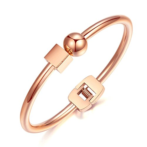 KnSam Damen Edelstahl Armreifen Armbänder Hoch Poliert Quadratische Form Runde Silber [Neuheit Armband]