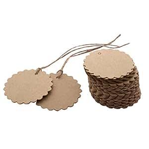 TAG - Set 50 etichette in cartone, a forma di fiore, con laccio, ideale per matrimoni, regali, cartoline, bagagli, prezzi, vestiti