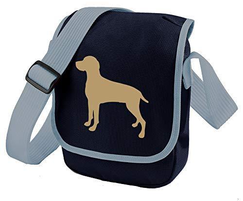 Bag Pixie Weimaraner Hundetasche Reportertasche Umhängetasche Weimaraner Silhouette Weimaraner Geschenk Farbwahl (Leber Hund Blau Tasche) -