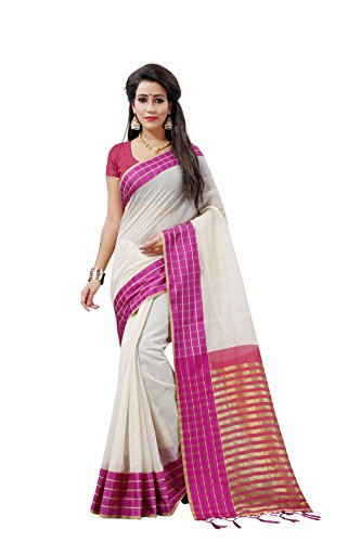 BLF Women's Cotton Silk Pink Color Saree With Blouse Piece