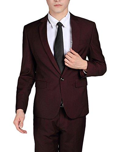 Costume Homme Formel Deux-Pièces Un Bouton Business Mariage Slim Fit Blazer Mode Elégant Classique Rouge foncé